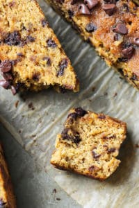 torn slice of coconut flour pumpkin bread with chocolate chips on parchment paper