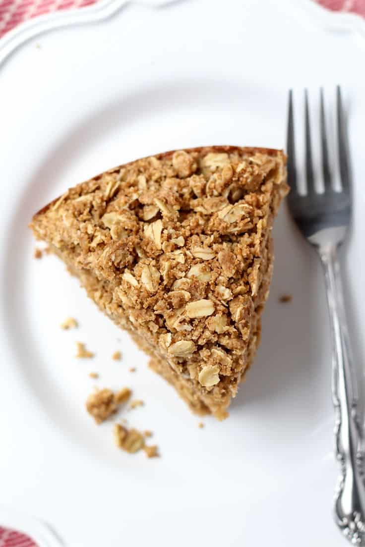 Gluten-free Coffee Cake with Oat Crumble on white plate with fork