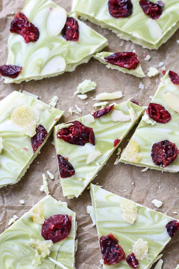 Matcha Cranberry White Chocolate Bark • Fit Mitten Kitchen