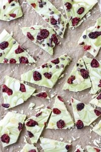 Easy and just three ingredients! Matcha Cranberry White Chocolate Bark