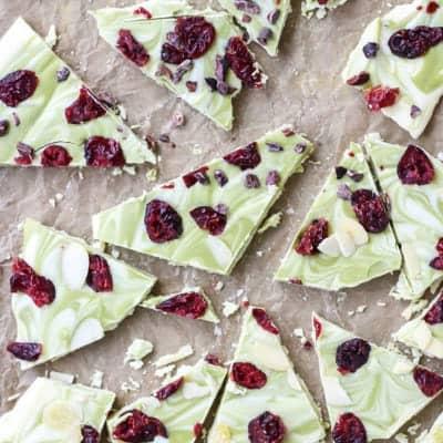 Matcha Cranberry White Chocolate Bark