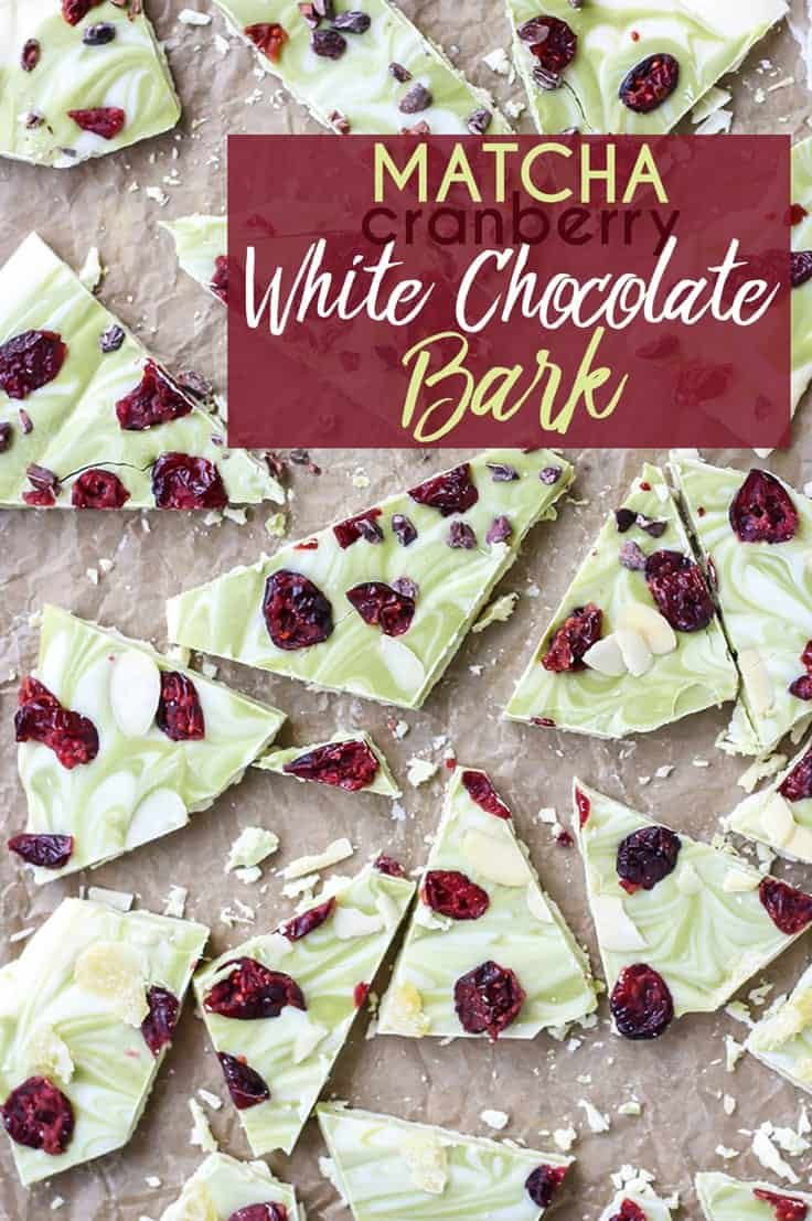 Matcha Cranberry White Chocolate Bark pinterest image