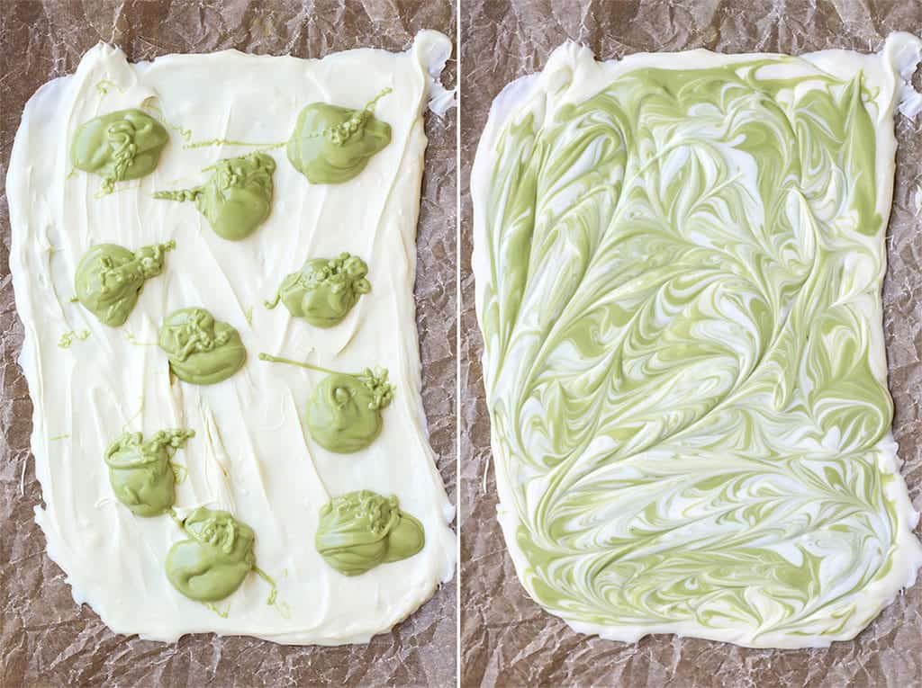 Matcha Cranberry White Chocolate Bark melted spread on parchment paper