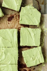 Grain-free, fudgy flourless brownies with a mint matcha frosting!