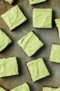Super fudgy flourless brownies with matcha mint frosting. And paleo so they're gluten-free and dairy-free!