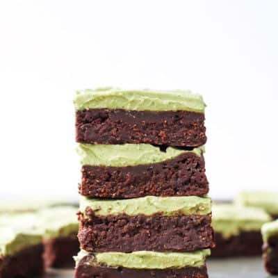 Paleo Flourless Fudgy Brownies with Mint Matcha Frosting