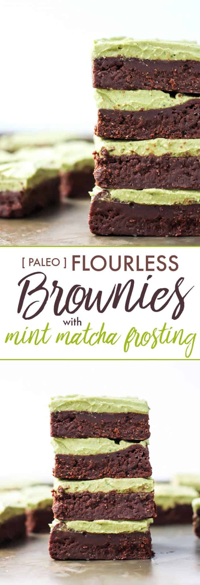 The most fudgy brownies you've ever had, plus a healthy mint matcha frosting.