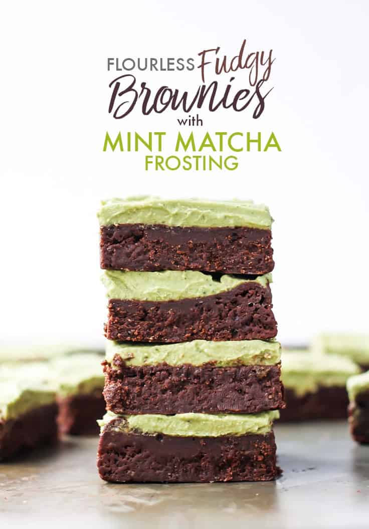 Brownies with matcha frosting in stack pinterest image
