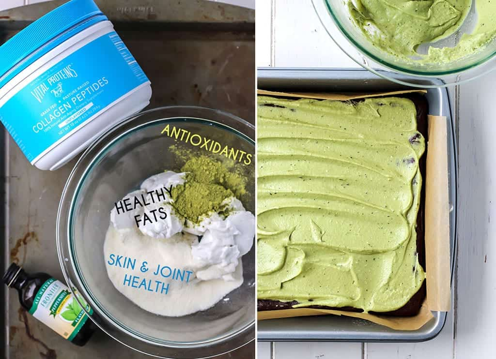 Paleo Flourless Brownies with Matcha Mint Frosting (and a secret healthy ingredient!)