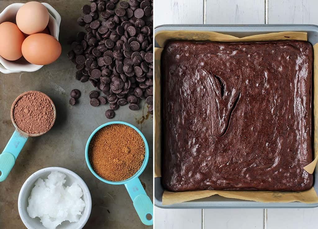 Brownie mix and batter in baking pan