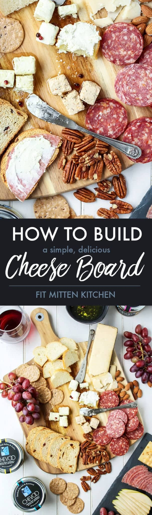 How to build a cheese board pinterest image goat cheese salami walnuts bread