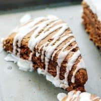 glazed gingerbread scone on baking sheet