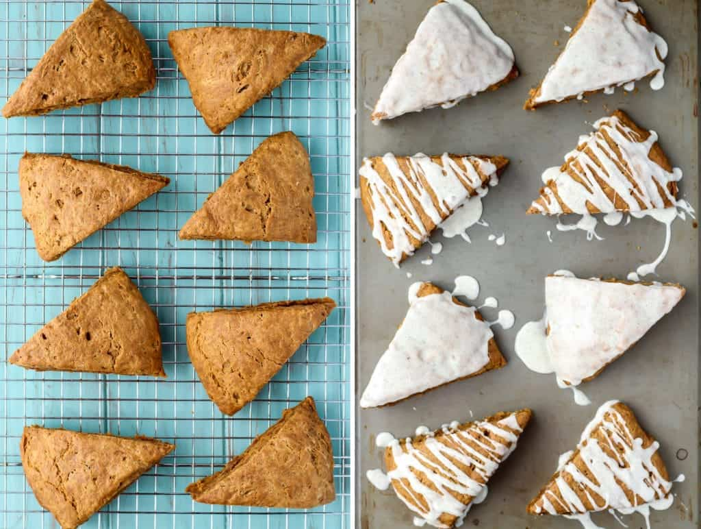 plain gingerbread scones on cooling rack and glazed gingerbread scones on baking sheet