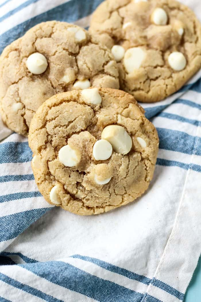 White Chocolate Macadamia Nut Cookies on blue and white towel