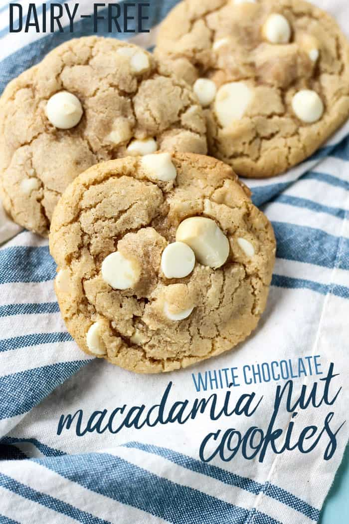 White Chocolate Macadamia Nut Cookies on blue and white towel pinterest image
