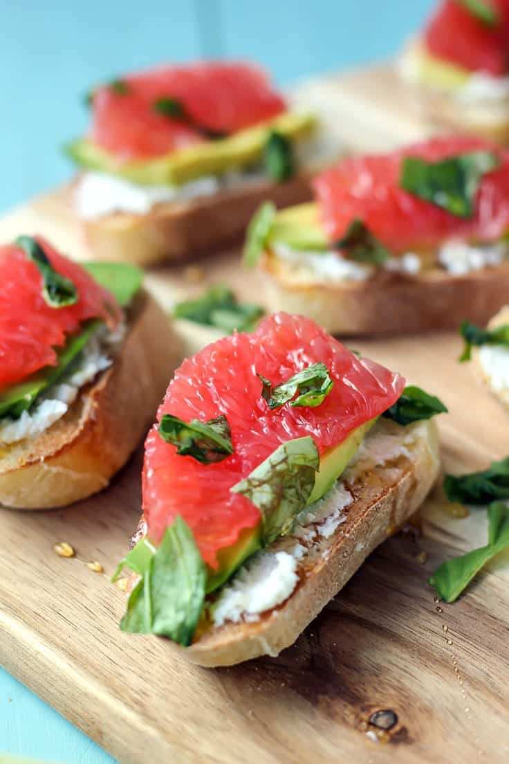 Crostini! Grapefruit, avocado goat cheese and basil