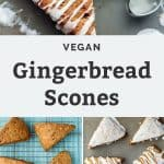 vegan gingerbread scones with vanilla bean glaze on baking sheet and cooling rack with cookie cutter and text overlay