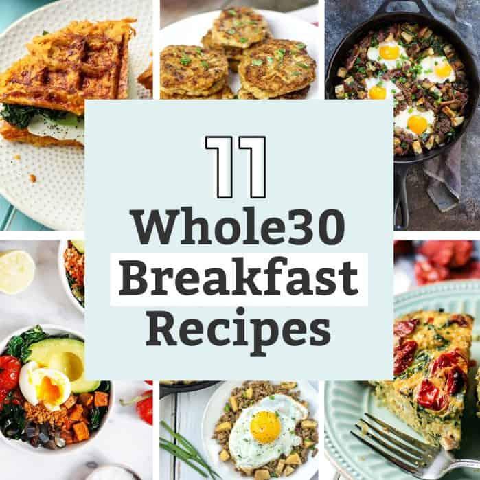 11 whole30 breakfast recipes: waffles, sausage, eggs, fritatta, cast iron skillet