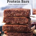 close up of homemade protein bars stacked