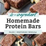 two photos of 4 ingredient homemade protein bars with nuts
