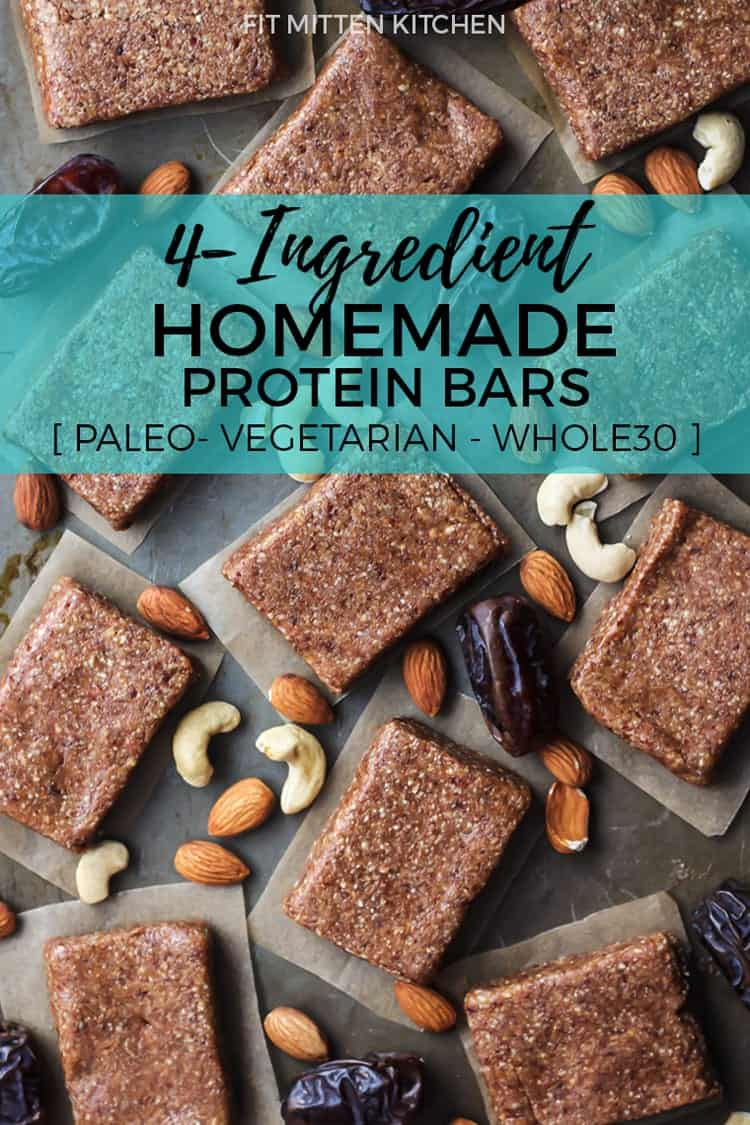 These 4-Ingredient Homemade Protein Bars are paleo, vegetarian and Whole30 compliant!