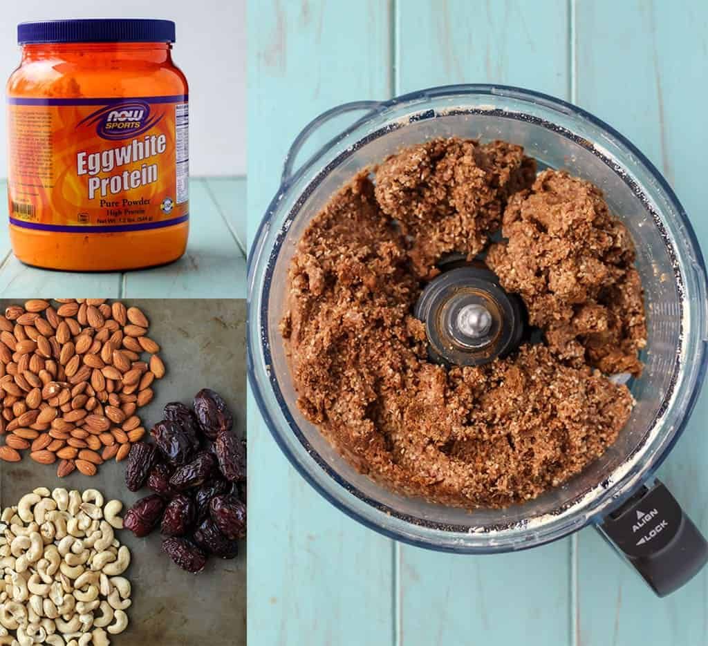 steps to make 4-ingredient protein bars; egg white protein powder, almonds, cashews, medjool dates and food processor bowl