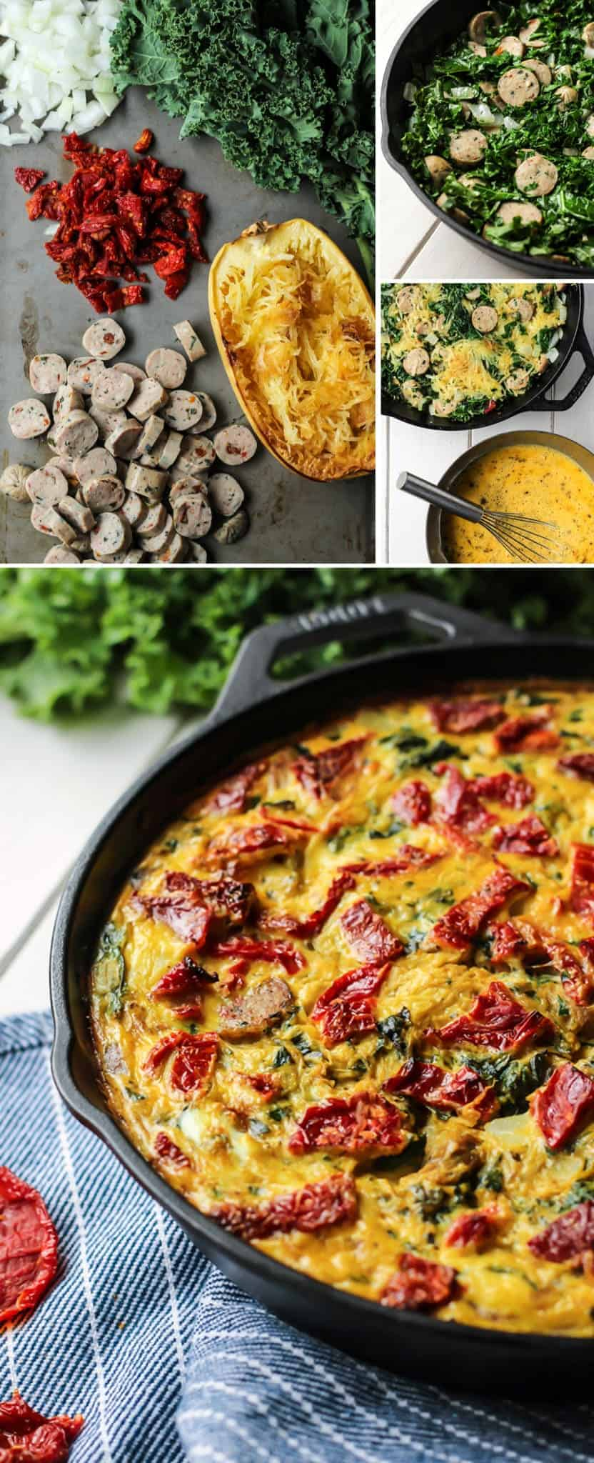 Sausage Kale Spaghetti Squash Frittata ingredients in mixing bowl and cast iron skillet