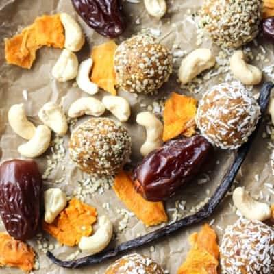 Mango Vanilla Bean Protein Energy Balls [ Paleo, Whole30 ]