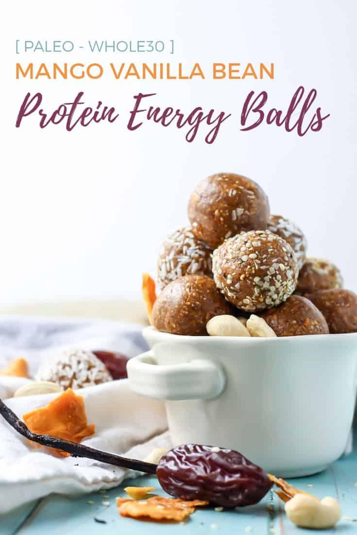 paleo whole30 mango vanilla bean protein energy balls in white bowl