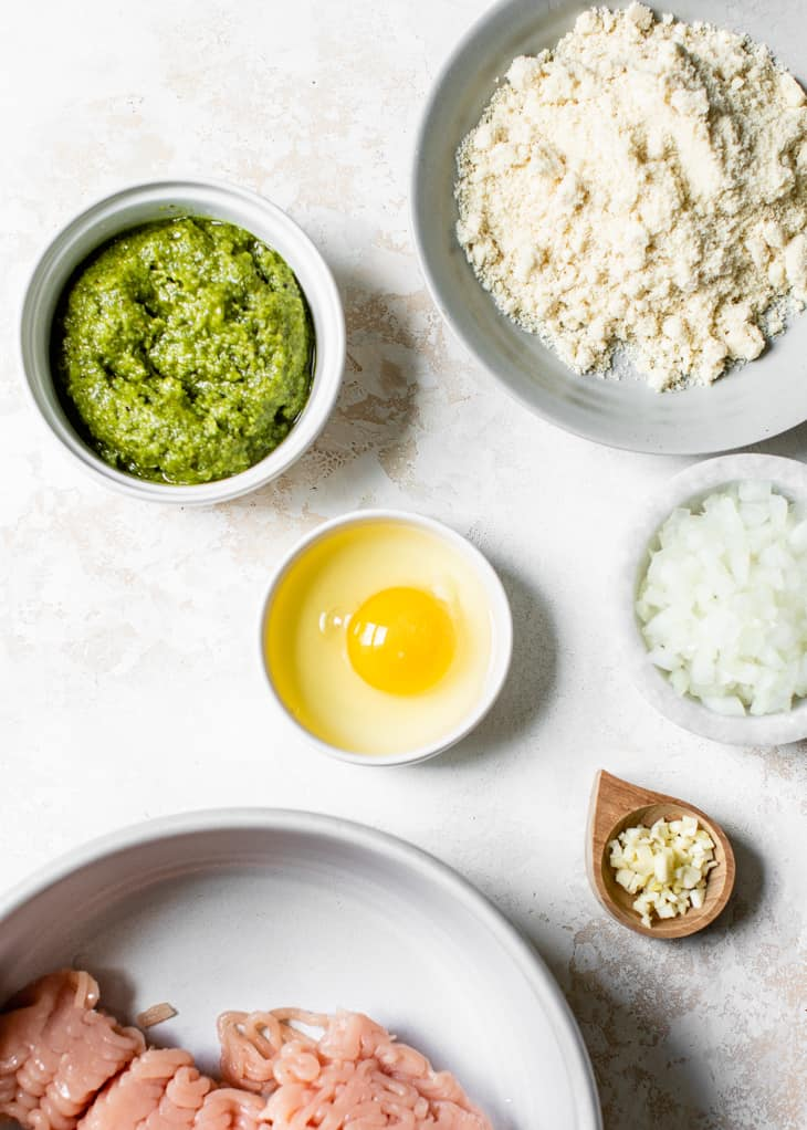 ingredients in bowls for pesto turkey meatloaf