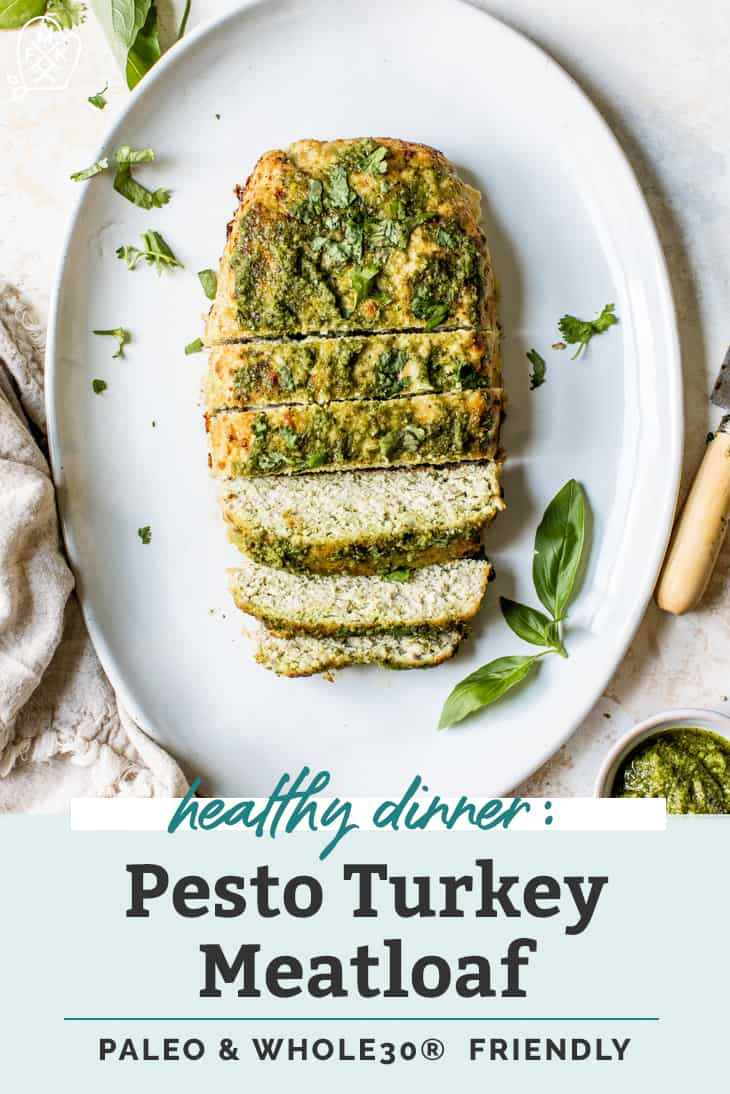 pesto covered turkey meatloaf on serving platter pin graphic