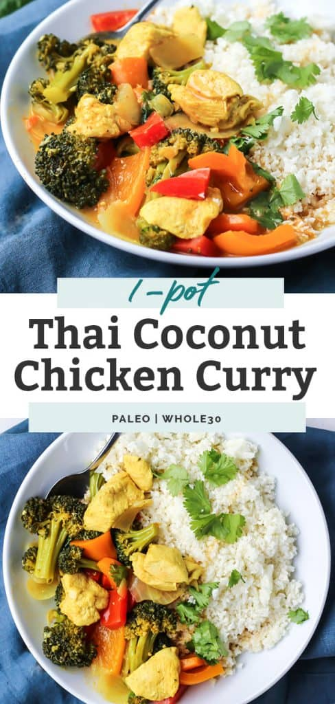 two photos of thai coconut chicken curry in white bowl on counter