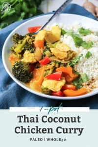 white bowl of thai coconut chicken curry with text overlay