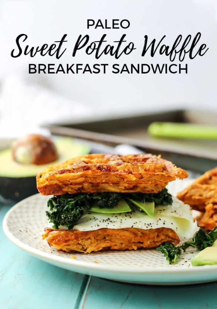 Paleo Sweet Potato Waffle Breakfast Sandwich. Simple ingredients and so good! You are going to want to try this! (Whole30 too!)