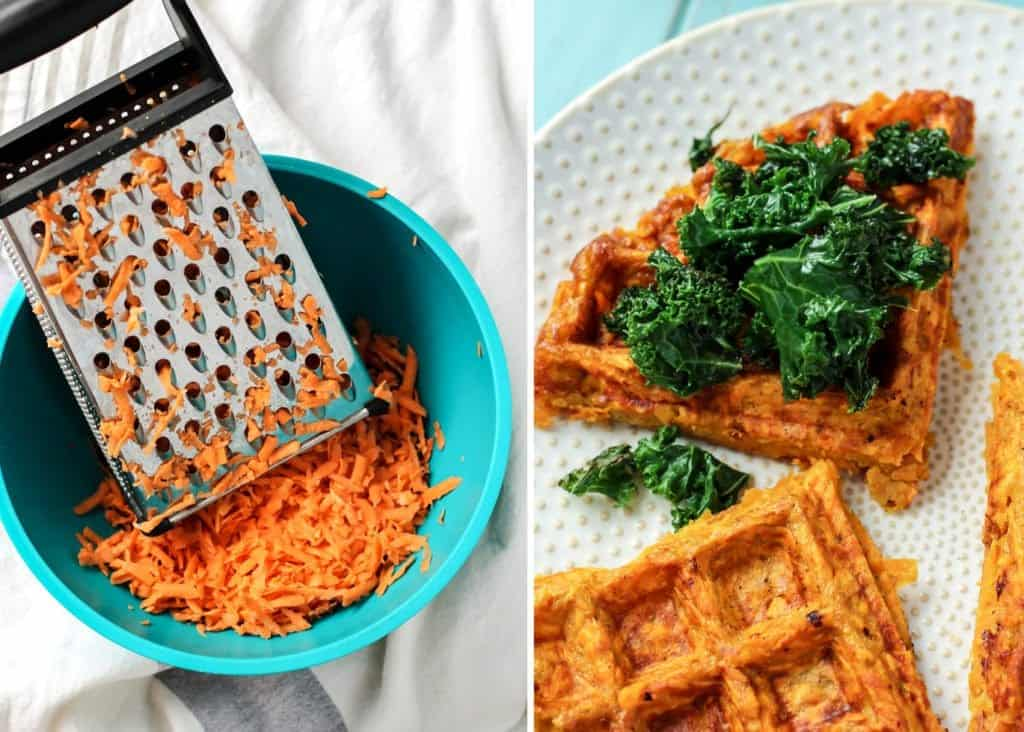 Just a grated sweet potato and an egg to make this hash-style waffle for a breakfast sandwich! Top the sweet potato with kale too.