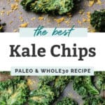 kale chips with seasoning in black bowl on baking sheet