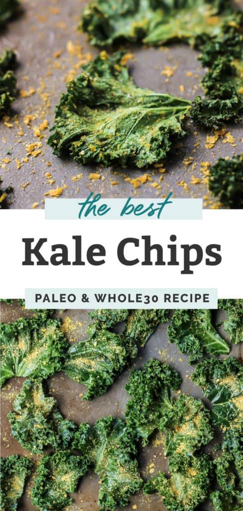 kale chips with seasoning in black bowl on baking sheet