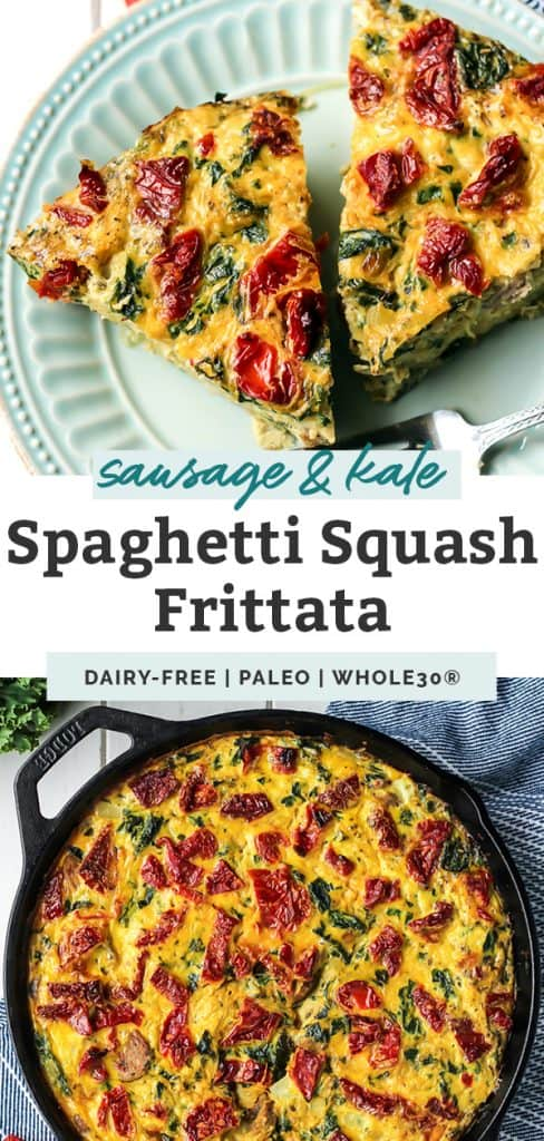 sausage frittata sliced on teal plate and in cast iron skillet with text overlay