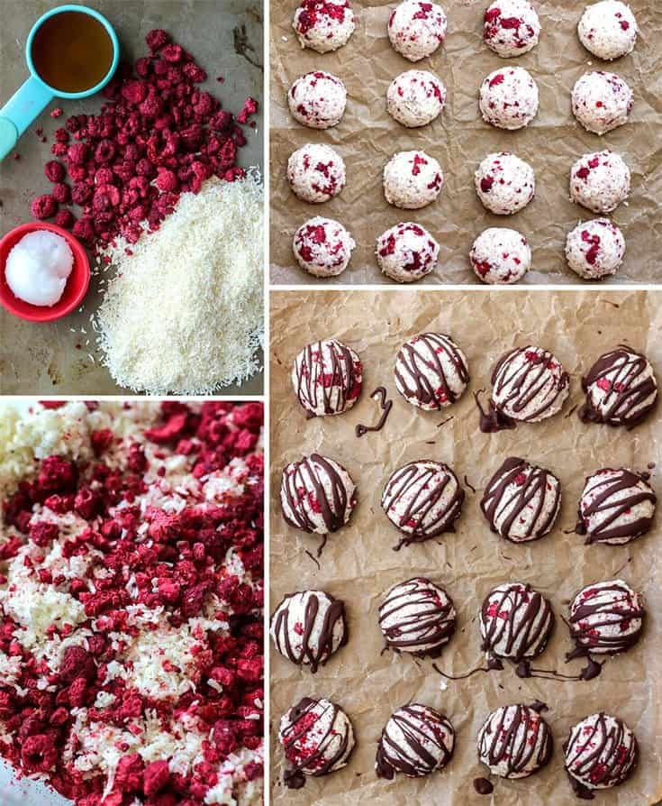 ingredients for raspberry macaroons on parchment paper