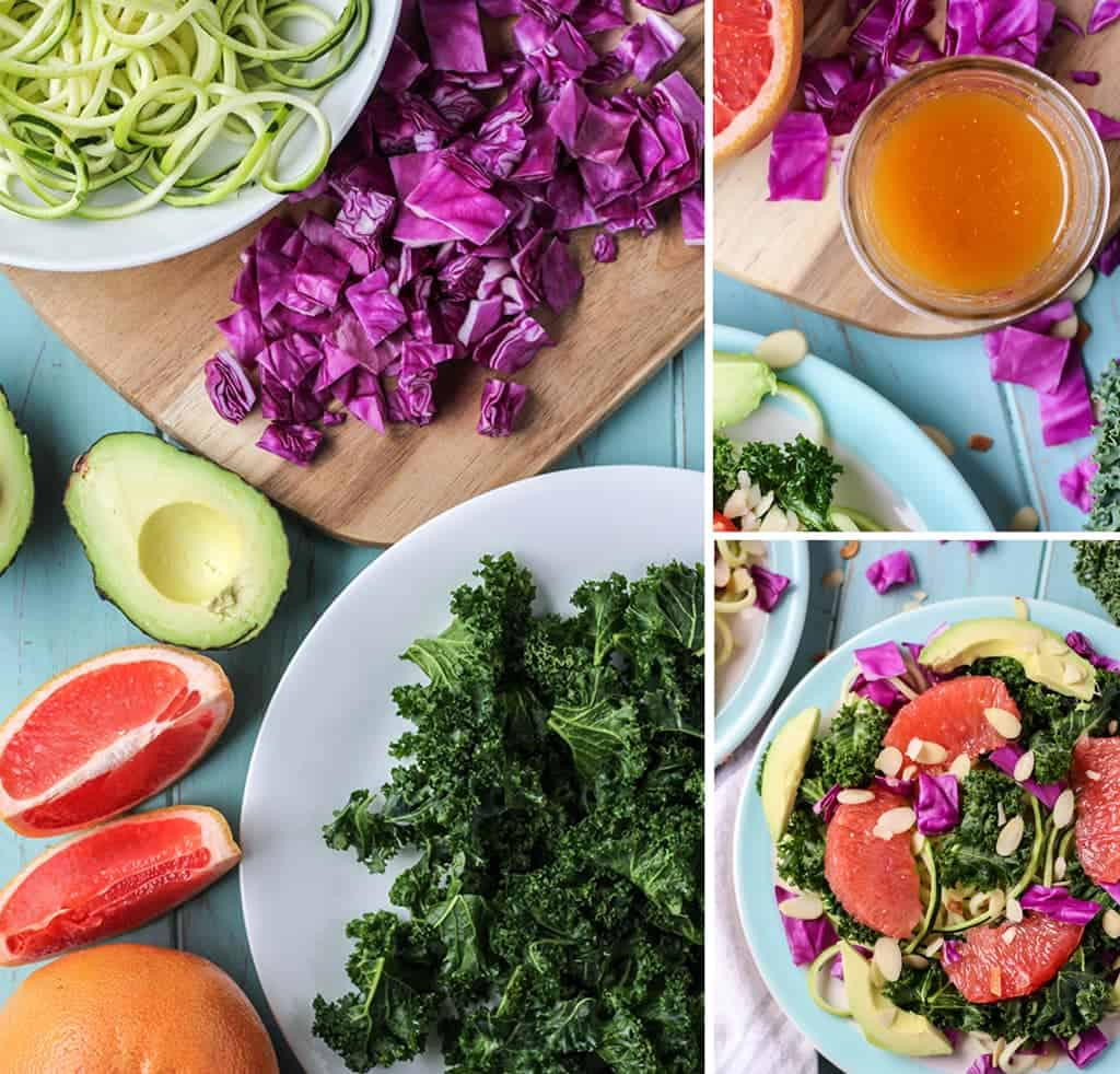 Grapefruit Zucchini Noodle Kale Salad with cabbage avocado and kale on blue plate