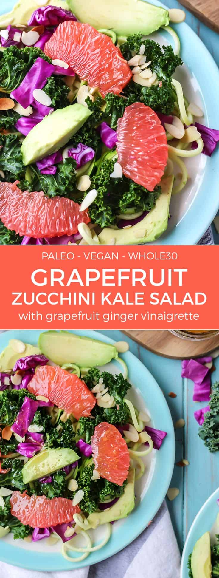 paleo vegan whole30 grapefruit zucchini kale salad with avocado on blue plates pinterest image