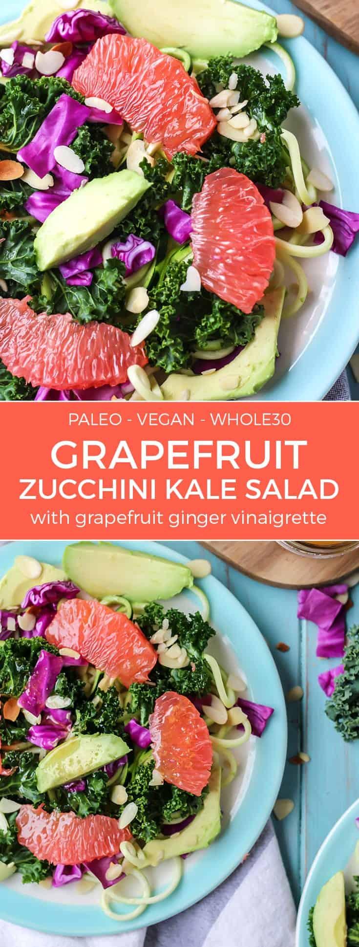 paleo vegan whole30 grapefruit zucchini kale salad with avocado on blue plates pinterest image