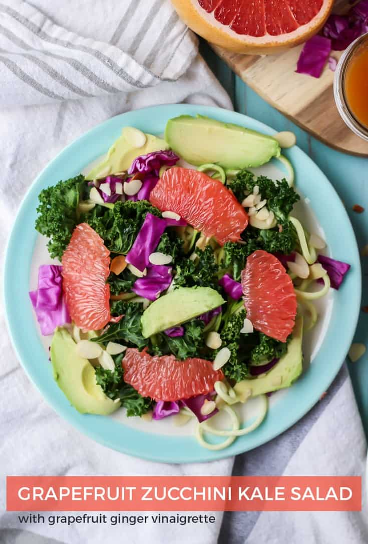 Grapefruit Zucchini Noodle Kale Salad, plus a super easy ginger grapefruit vinaigrette!