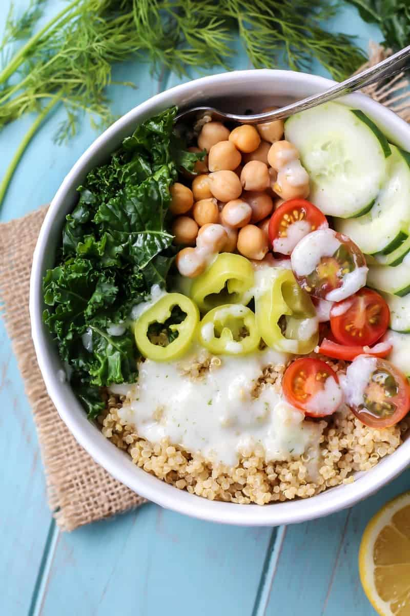 This Gluten-free and Vegan Greek Power Bowl with Tzatziki Dressing is just what you need for your meal prep