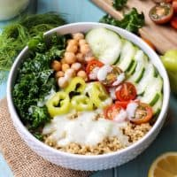 Gluten-free and Vegan Greek Power Bowl with a simple Tzatziki Dressing