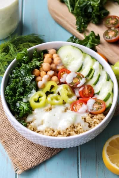 Vegan Greek Power Bowl with Tzatziki Dressing