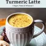 vegan paleo whole30 Medjool Date Golden Milk Turmeric Latte in white mugs