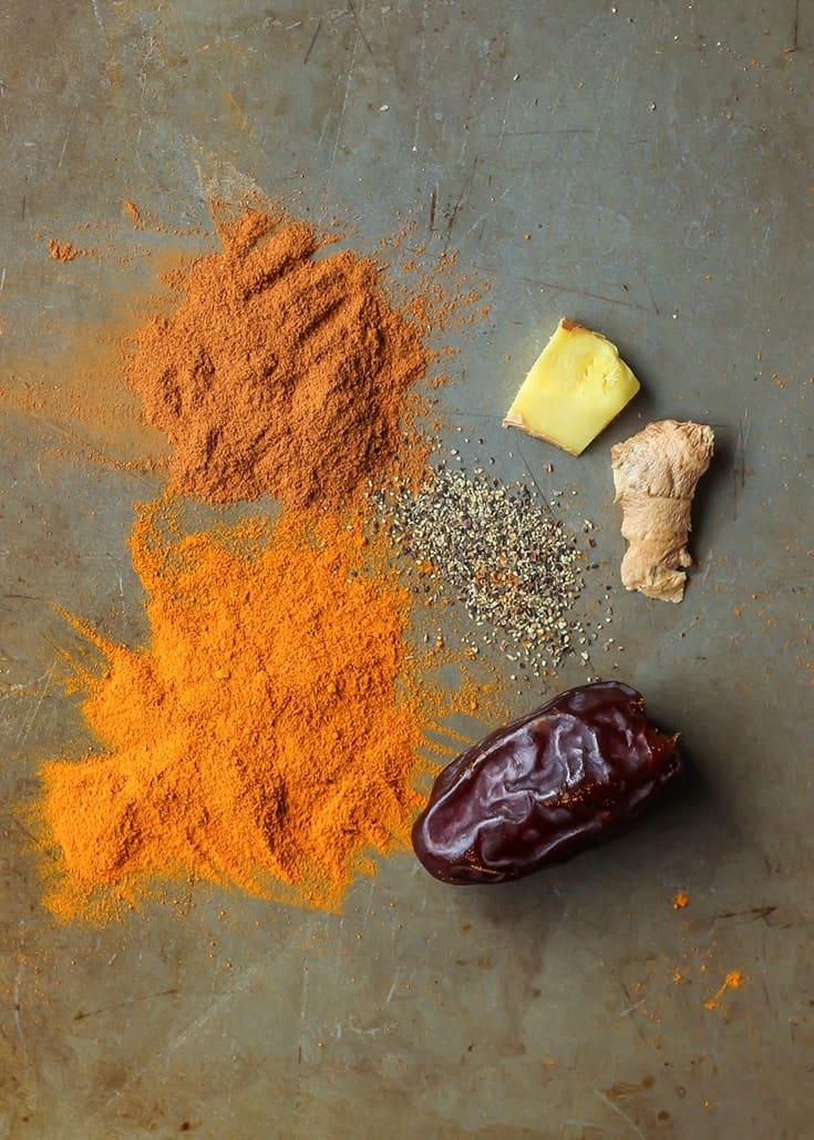 Medjool Date Turmeric Latte ingredients on baking sheet