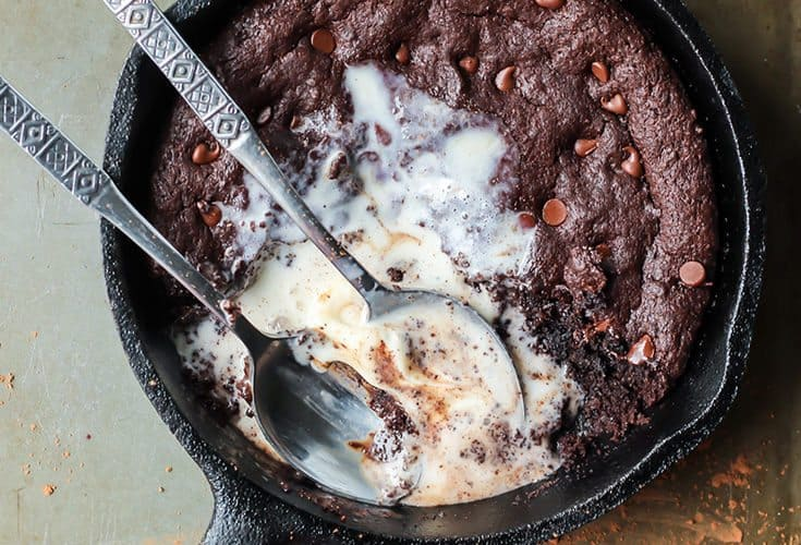 Fudgy Paleo Skillet Brownie for Two