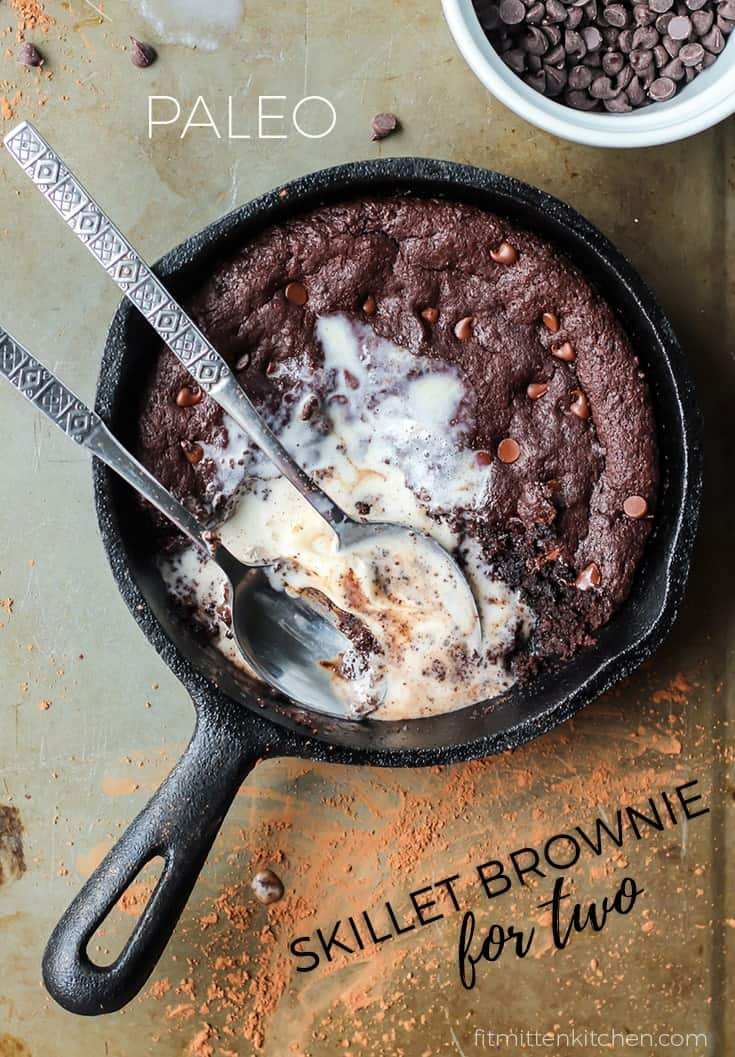 Paleo Skillet Brownie and vanilla ice cream with two spoons pinterest image